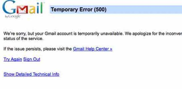 Yahoo Inc, which also runs a rival internet mail service, seized the moment to post a screenshot of the Gmail error page to Twitter. Yahoo later apologized for the barb and deleted the tweet.