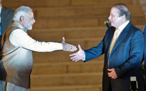 Nawaz Sharif-Narendra Modi handshake