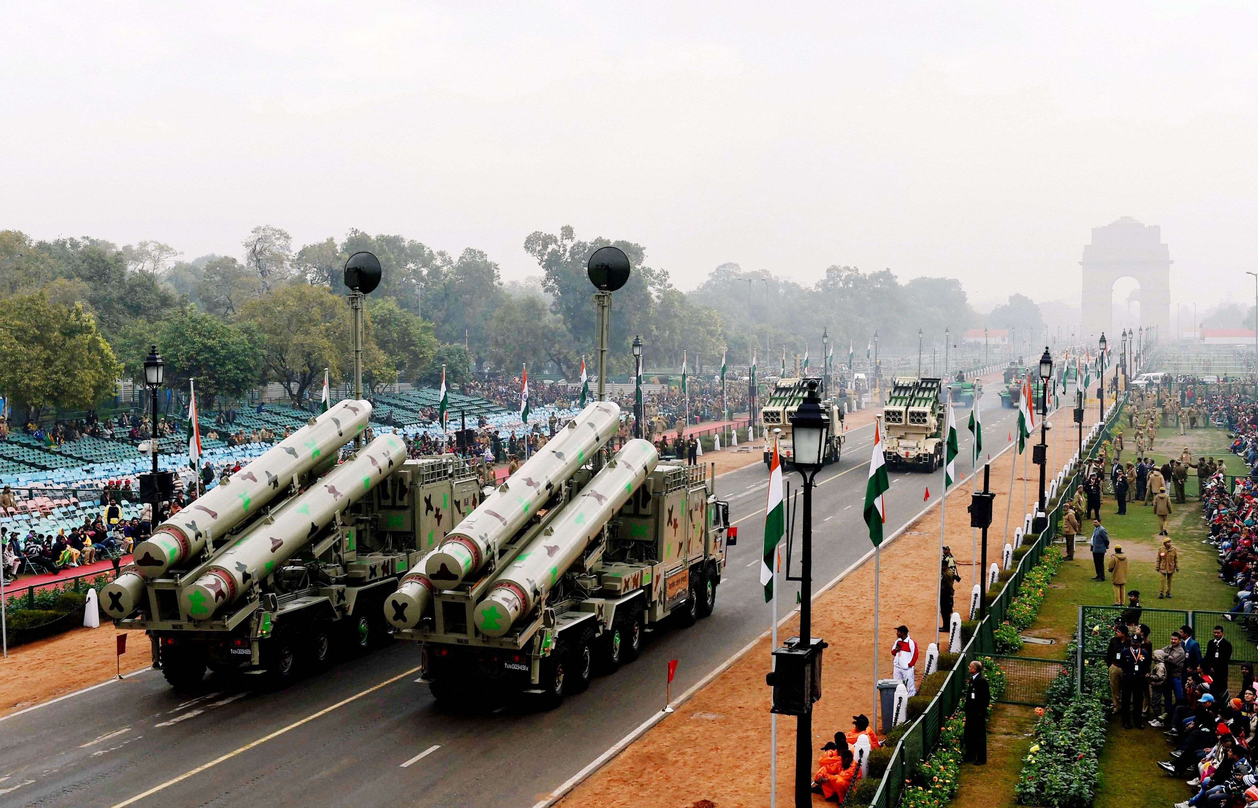 Brahmos weapon system move during the full dress rehearsal for the Republic Day parade at Rajpath in New Delhi. (PTI photo by Atul Yadav)