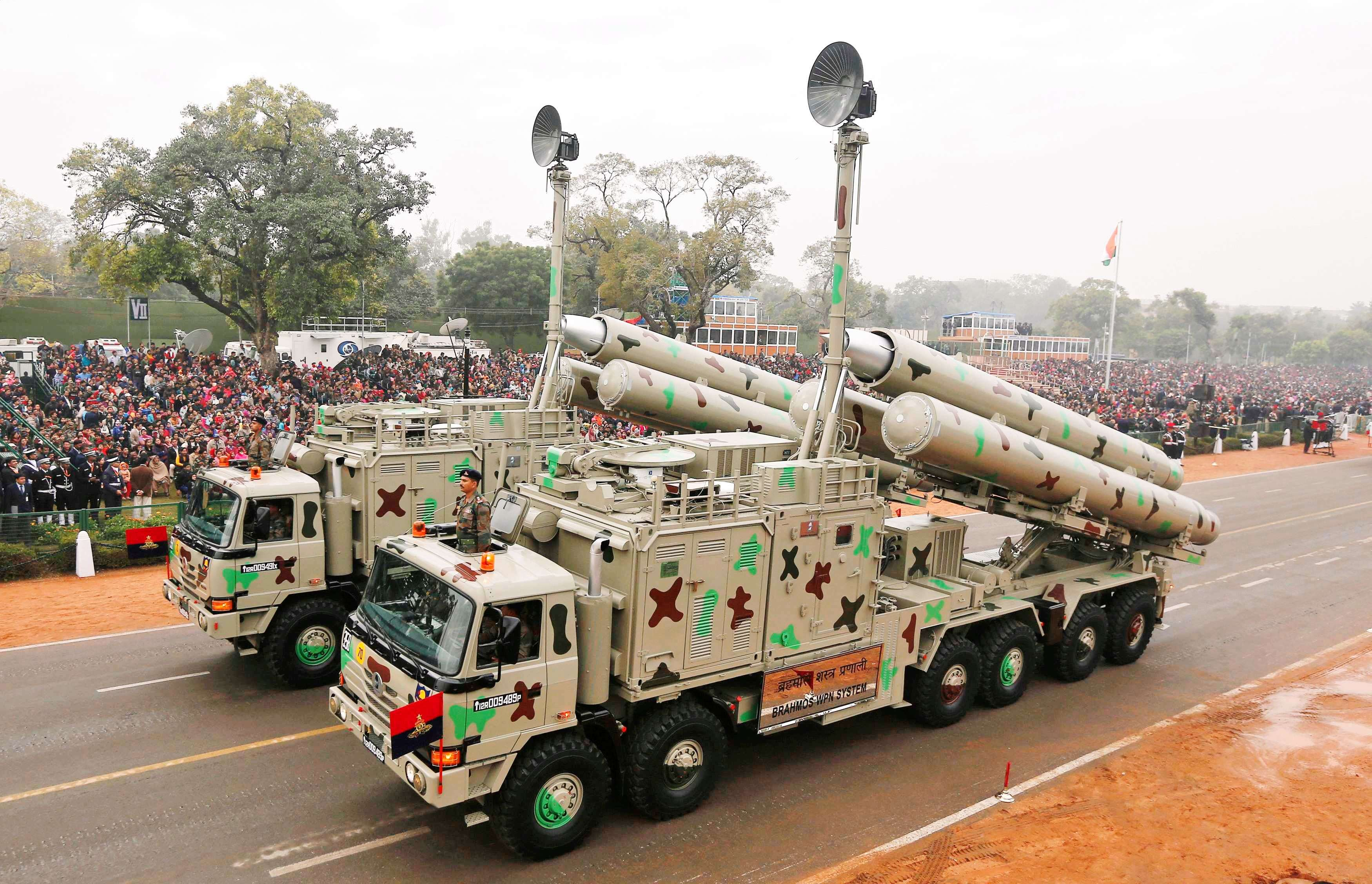 Indian Army's BrahMos weapon systems are displayed during a full dress rehearsal for the Republic Day parade in New Delhi. (REUTERS/Adnan Abidi)