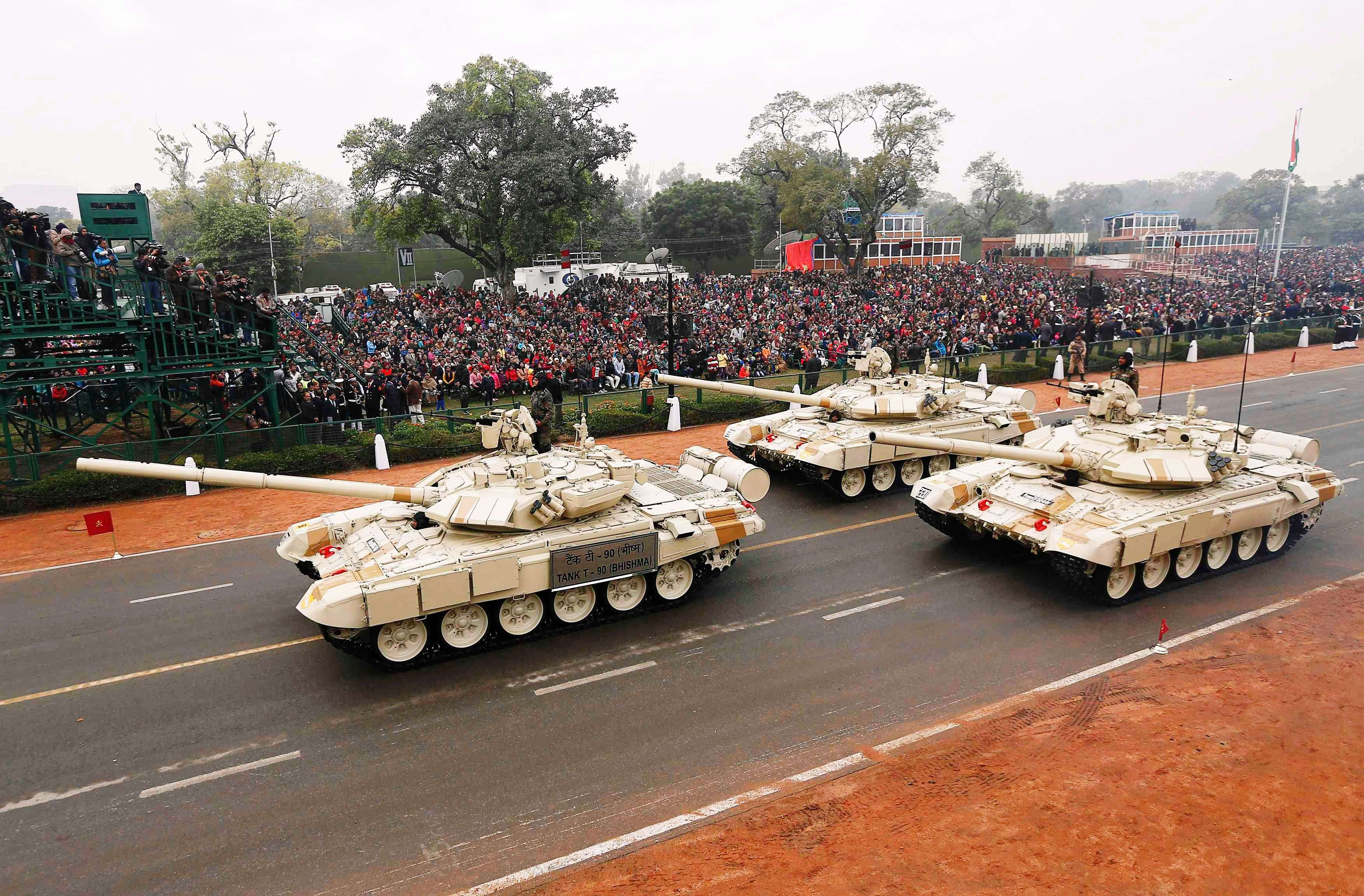 Indian Army's T-90 Bhishma tanks take part in a full dress rehearsal for the Republic Day parade in New Delhi. (REUTERS/Adnan Abidi)