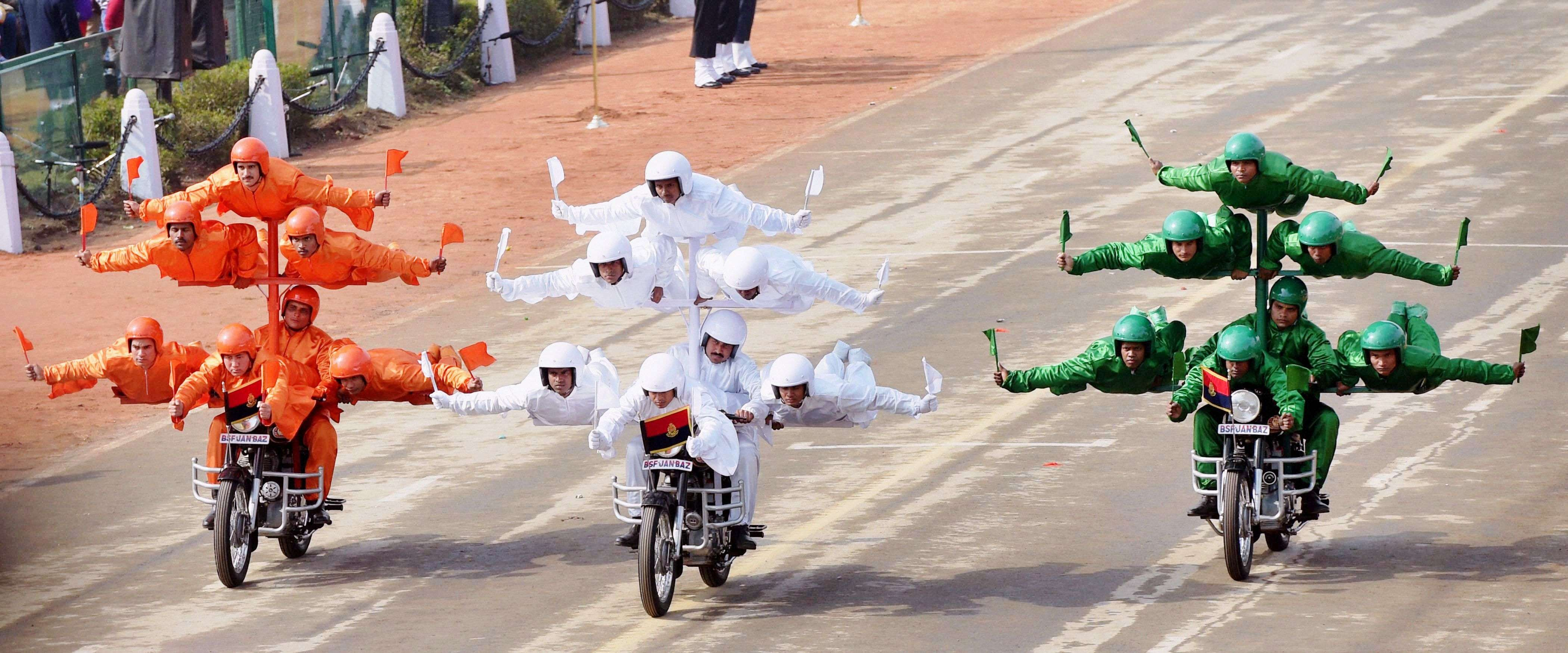 BSF daredevils during the full dress rehearsal for the Republic Day parade at Rajpath in New Delhi. (PTI photo by Manvender Vashist)