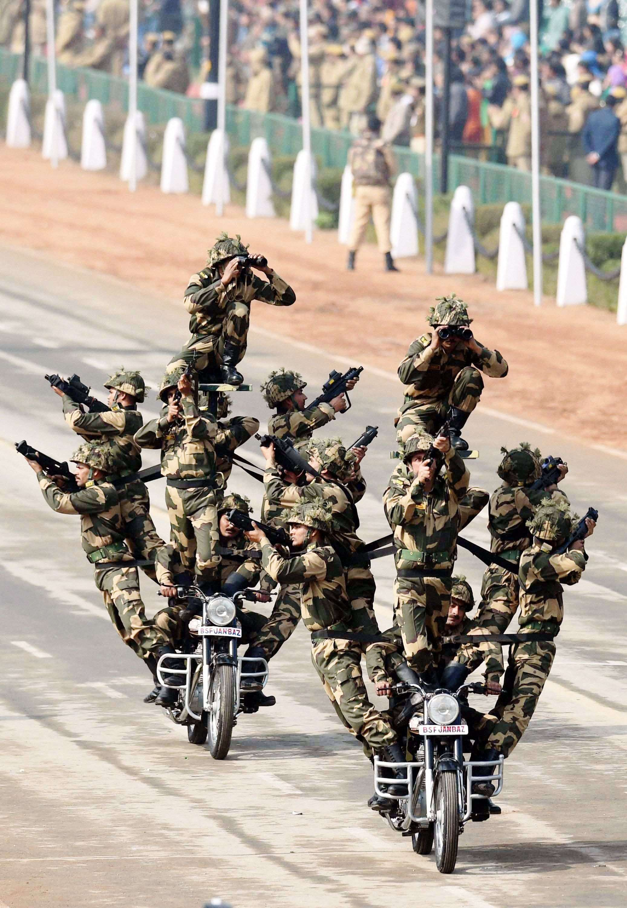 BSF daredevils during the full dress rehearsal for the Republic Day parade at Rajpath in New Delhi. (PTI photo by Atul Yadav)
