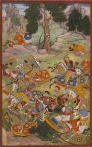 Mughal miniature depicting the First Battle of Panipat and the death of Ibrahim Lodi