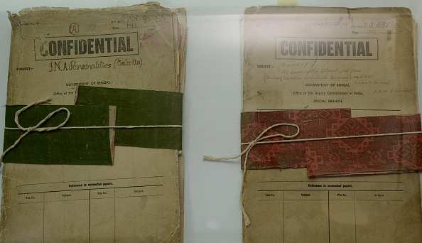 Files relating to Indian freedom fighter Netaji Subhas Chandra Bose are displayed at the Police Museum in Kolkata on September 18, 2015. The West Bengal government has declassified 64 files related to Netaji Subhas Chandra Bose, which have been placed in the archives of the Kolkata police museum. AFP PHOTO/Dibyangshu SARKAR        (Photo credit should read DIBYANGSHU SARKAR/AFP/Getty Images)