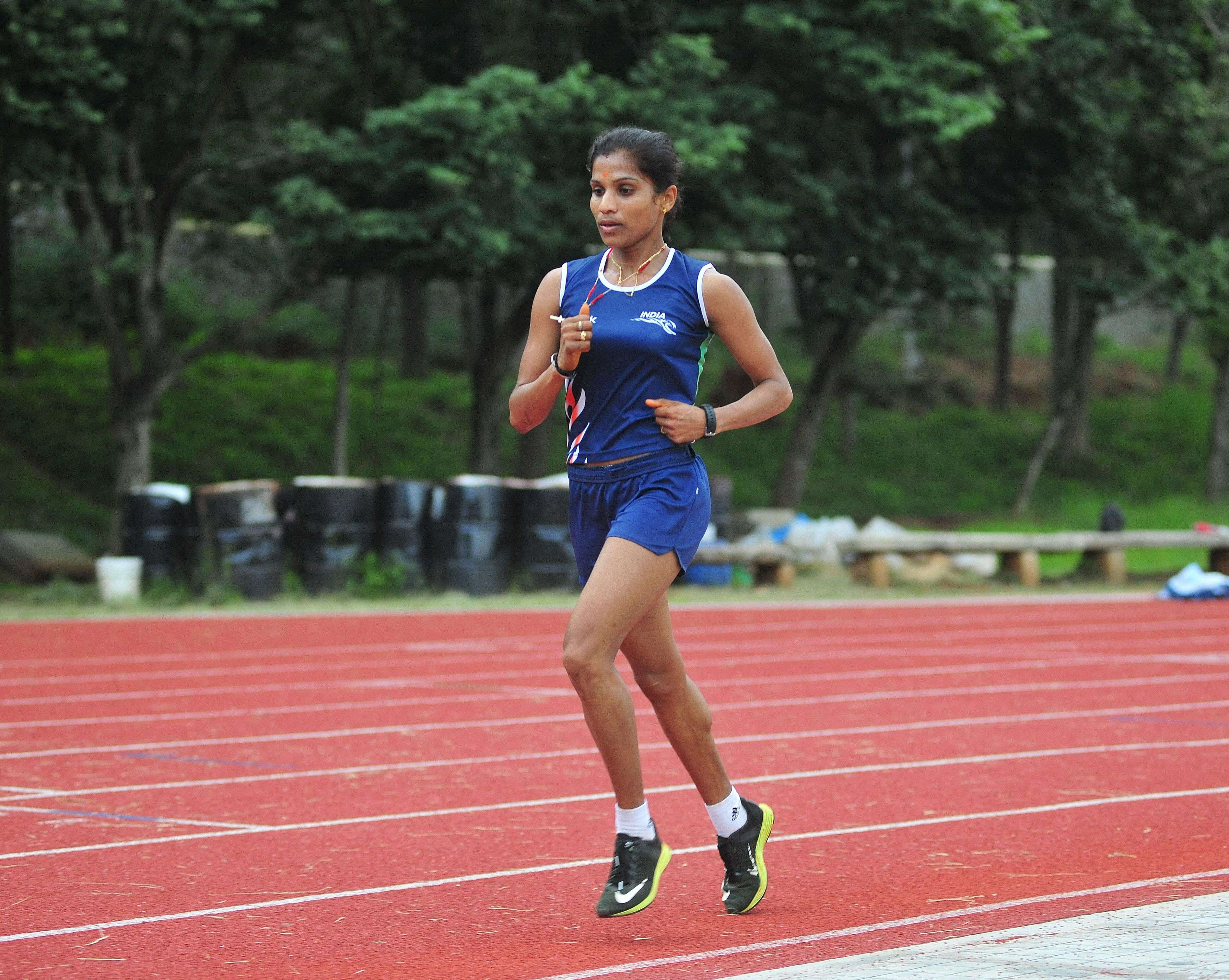 Indian athletes O. P. Jaisha during practice session ahead of RIO Olympics games, seen at SAI in Bengaluru on Tuesday.