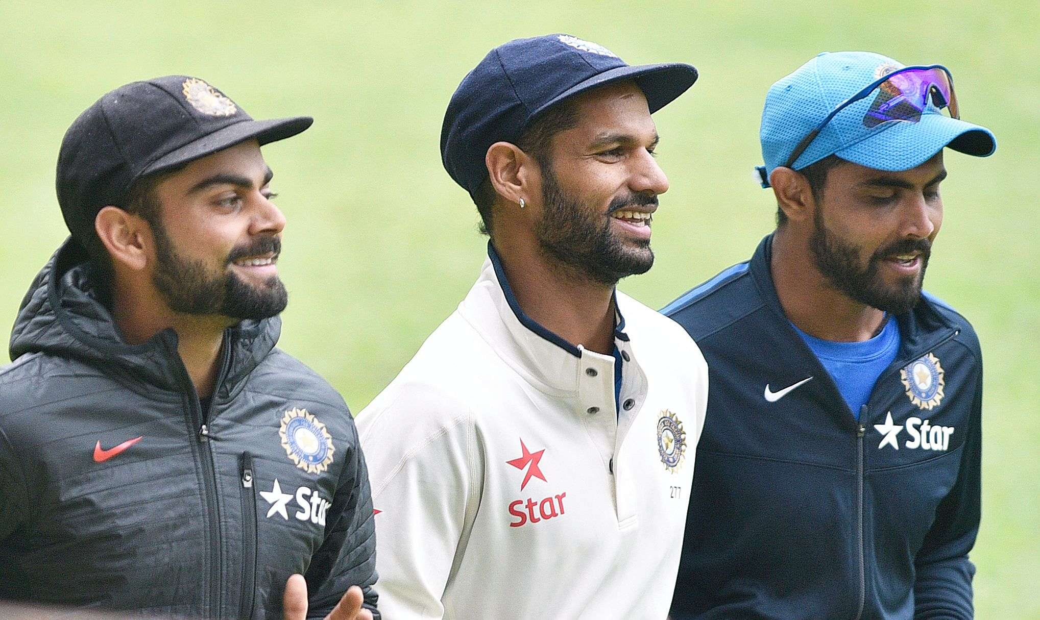 Indian cricket team captain Virat Kohli , Shikhar Dhawan and Ravindra Jadeja during practice session , prior to the second India-South Africa cricket test to be held in city at M Chinnaswamy stadium, in Bengaluru on Friday.