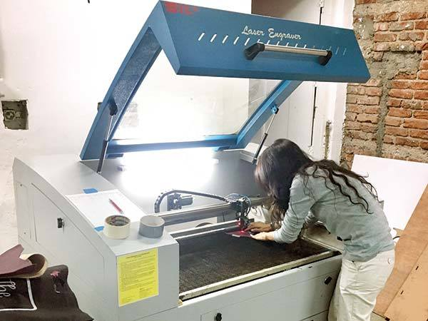A laser-cutting and engraving machine