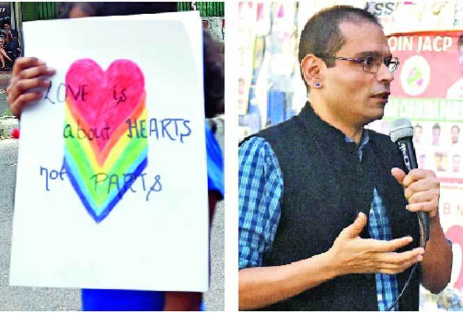 The message 'Love is about hearts and not parts' could be seen and (R) Sharif D Rangnekar, lyricist and LGBTQ activist (BCCL)