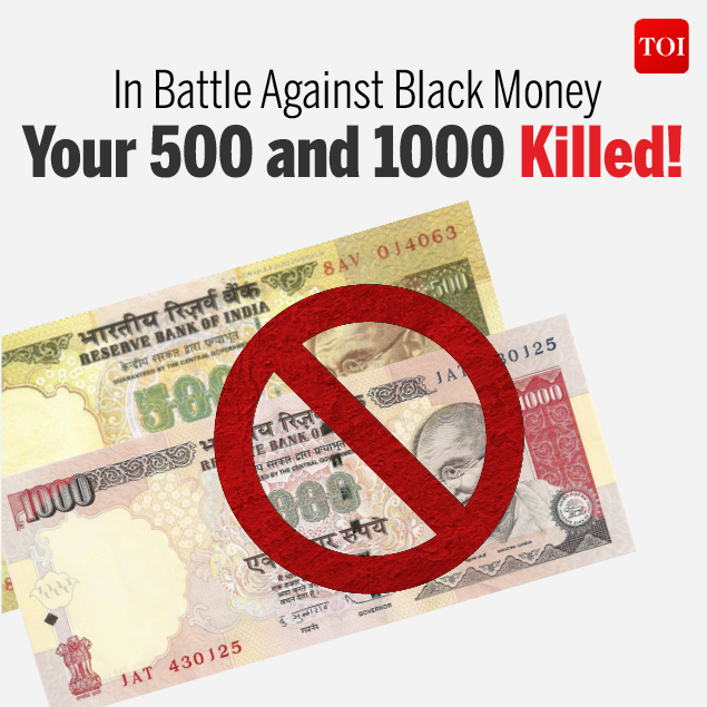 In battle against black money 500 and 1000 killed!-Infographic-TOI