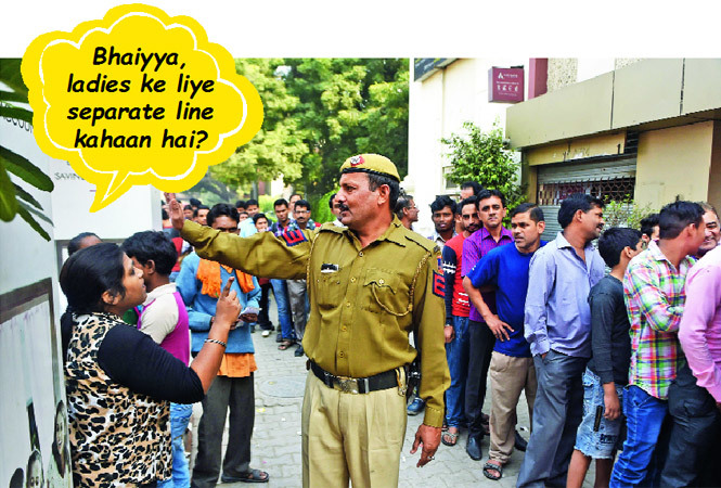 Women have apparently been trying to create separate queues outside banks (BCCL)