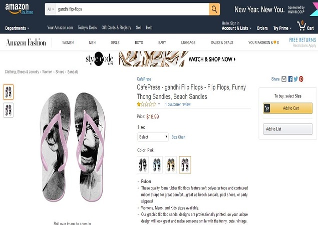 a6c2b027b8d ... doormats with the Tricolour on them. Amazon describes its  Gandhi flip  flops  as a pair of