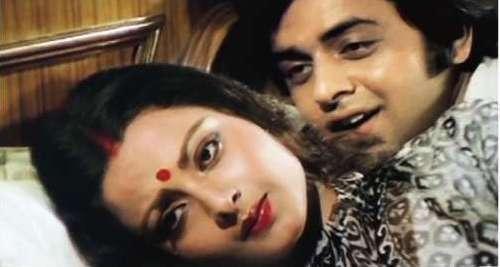 Vinod Mehra and Rekha in a scene from Ghar