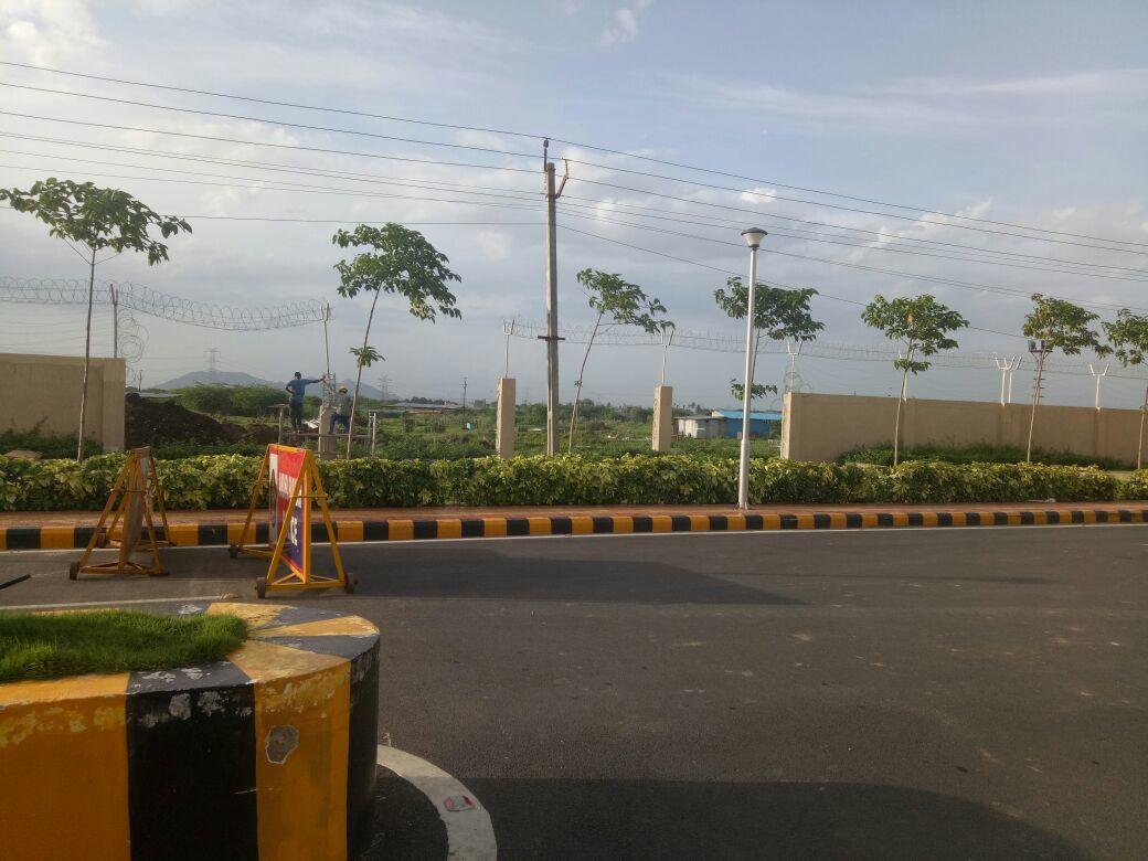 Wall bulldozed to put up a new gate in the secretariat complex at Velagapudi in Amaravati.