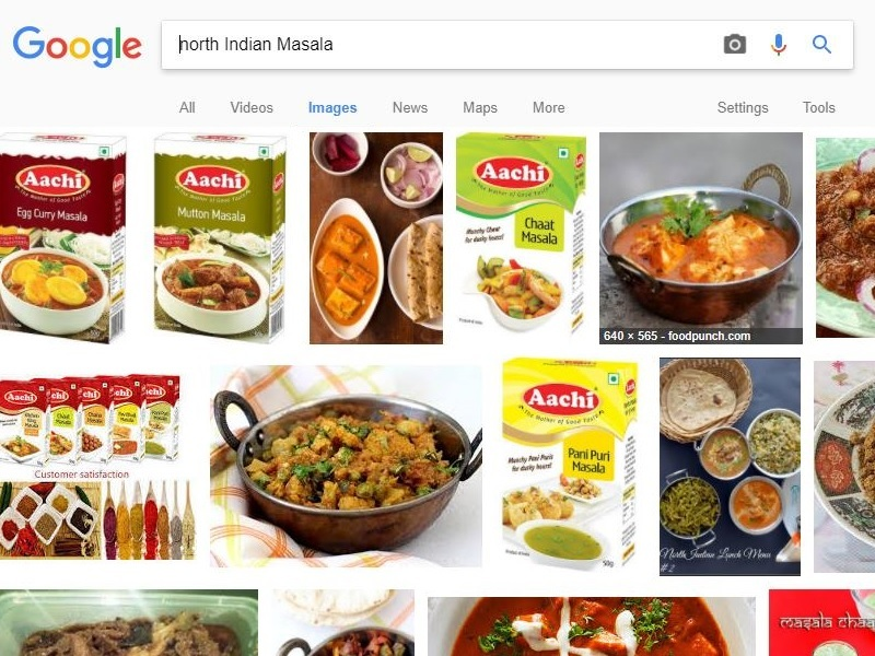 But oddly enough when you search 'South Indian Masala' on Google it shows  skimpily clad women.