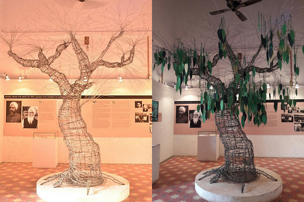 Tree of Hope as it was on inauguration day (left) and as of December 2016 - greened by people's messages of hope