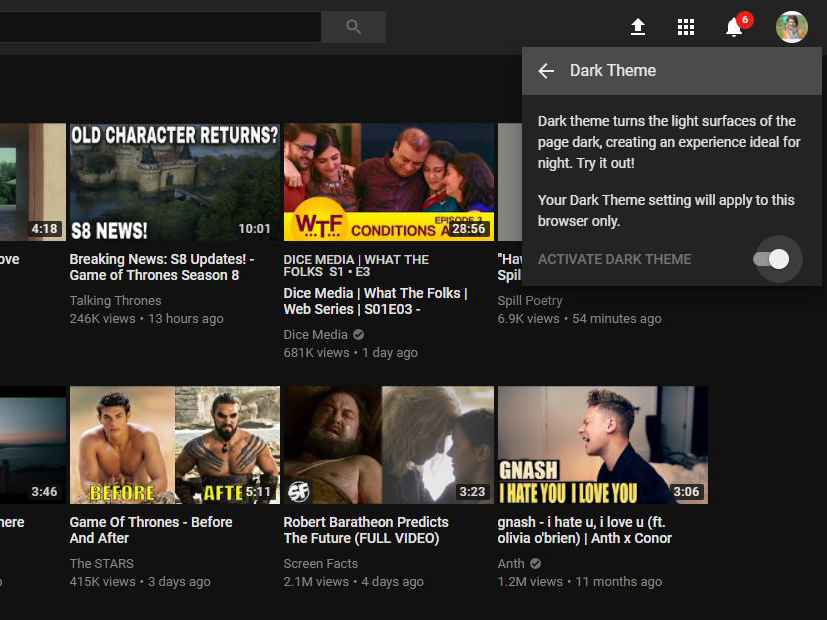 YouTube Dark Theme: How to change YouTube's white background