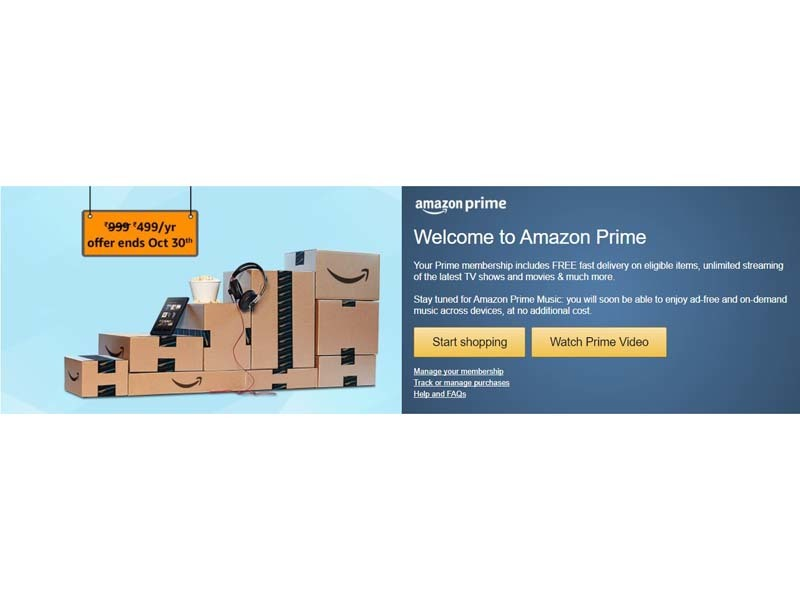 Amazon to charge INR 999 for prime subscription from 30th November