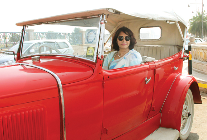 Kanak Rekha Chauhan posed with her Ford 1928 model (BCCL/ Aditya Yadav)