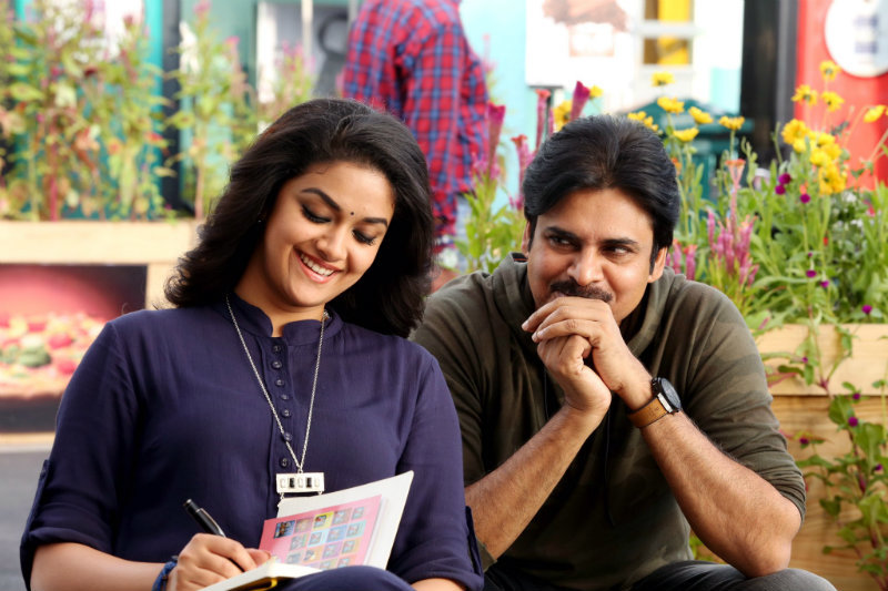 Keerthy Suresh Picture with Powerstar Pawan Kalyan in a still from her upcoming film PSPK25