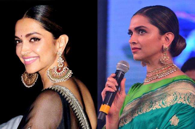 Deepika Padukone sleek hair bun