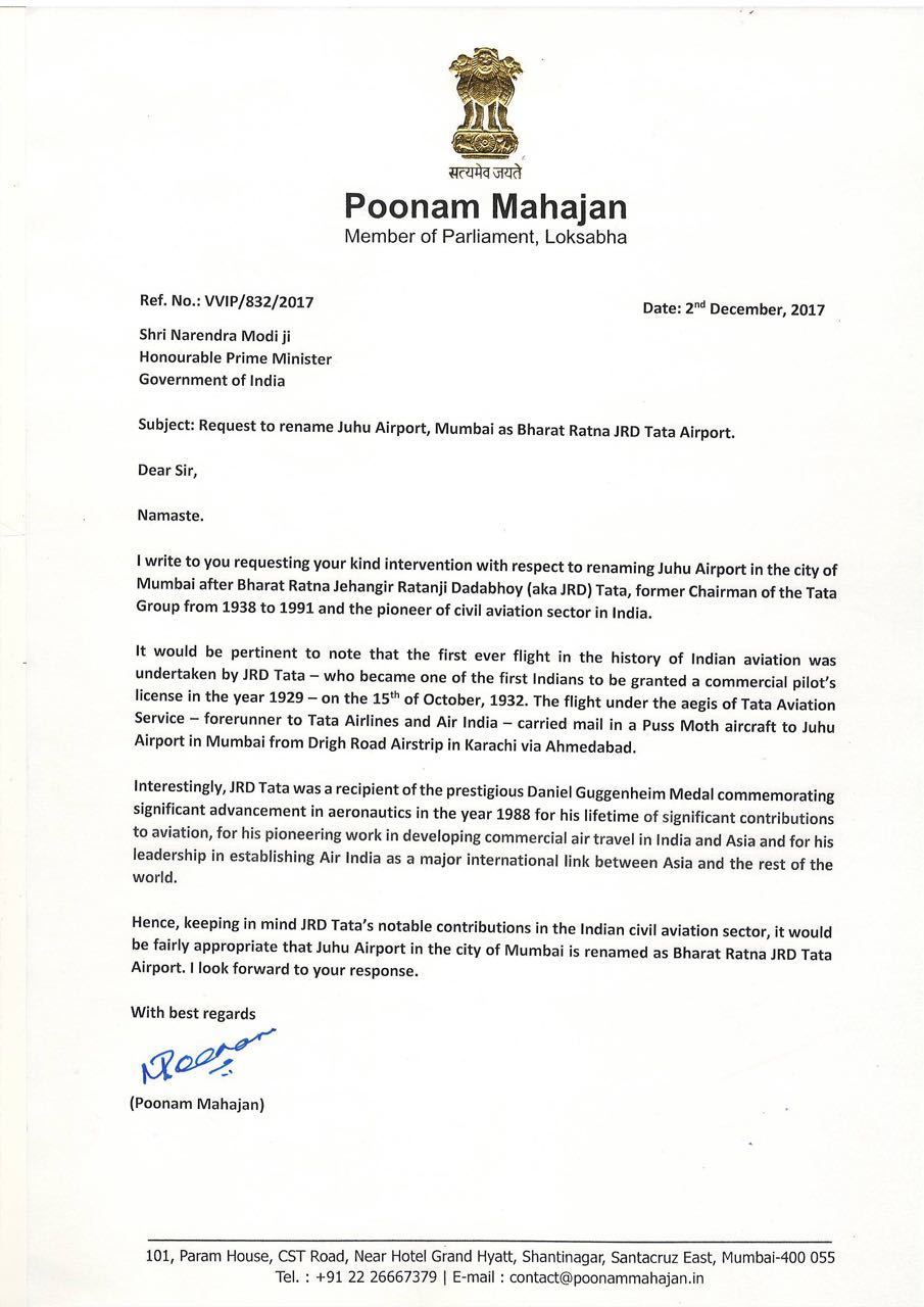 The letter written by Poonam Mahajan