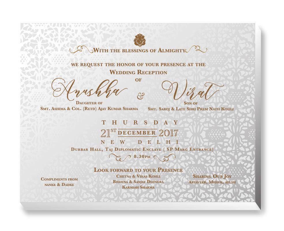 Virat kohli and anushka sharmas wedding the invitation card for anushka and virat39s wedding reception card stopboris Gallery