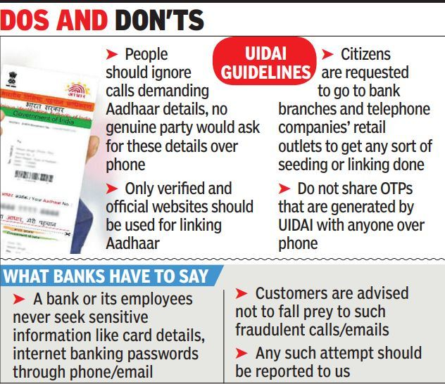 Aadhaar Card Banks Sound Alarm Over Fraud Aadhaar Link Calls Kolkata News Times Of India