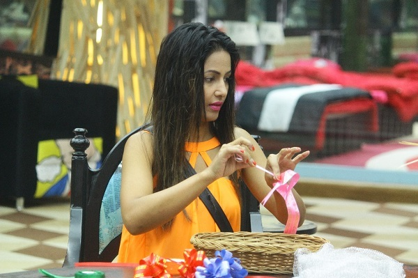 Hina Khan making her gift basket for Rocky Jaiswal
