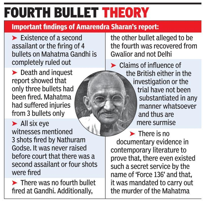 'No mysterious person or 4th bullet behind Gandhi's death'
