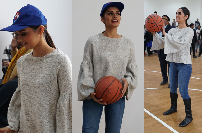 Manushi Chhillar playing basketball at Bennett University