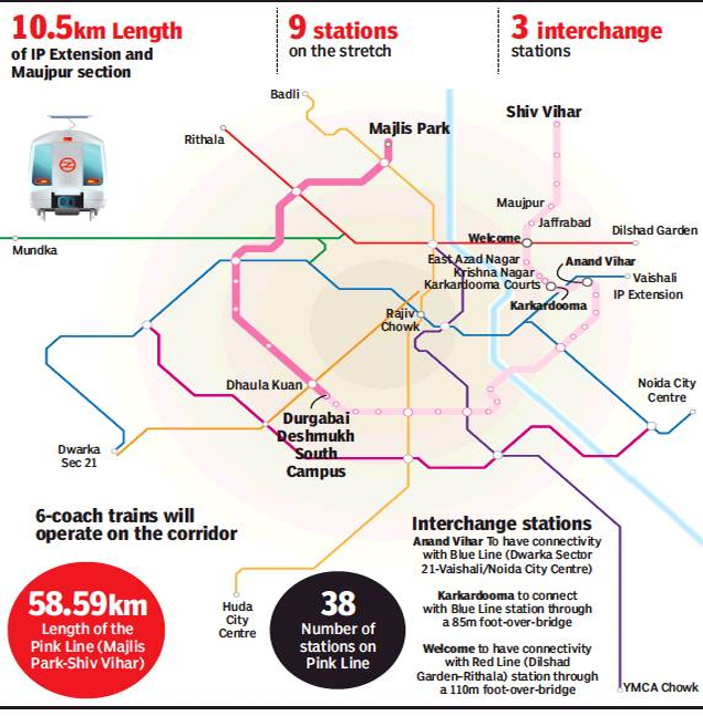 Image result for three interchanging station of pink line in east delhi