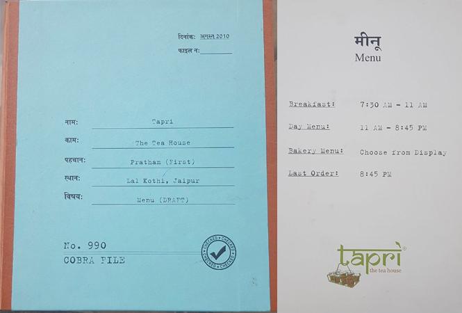 tapri menu cards