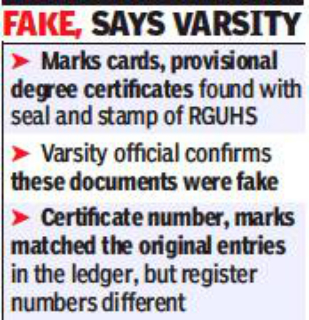 bengaluru fake marks cards and degree certificates of rajiv gandhi university of health sciences are in circulation in bengaluru and other places