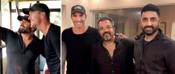 Kevin Pietersen with Suniel Shetty; the cricketer with Apoorva Lakhia and Abhishek Bachchan