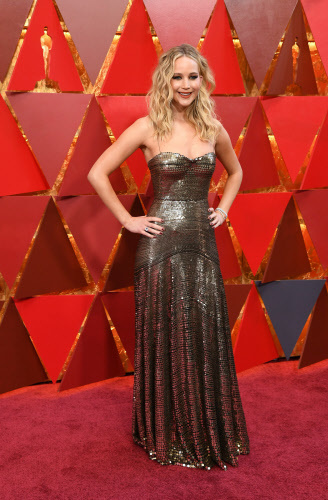 US actress Jennifer Lawrence at the 90th Annual Academy Awards in Hollywood, California. Photo by AFP