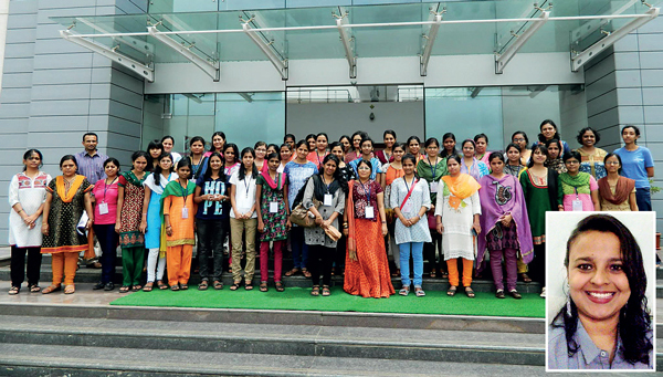 Dr Anisa Chorwadwala (centre in orange), who was the convenor of an event titled 'Young women and mathematics' held at IISER Pune in 2014. Dr Chorwadwala is also part of another all-women group this week alongwith Dr Durba Sengupta of NCL (right)
