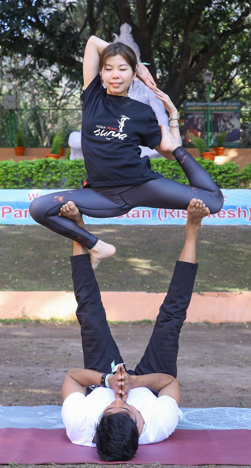 Participants making yoga poses