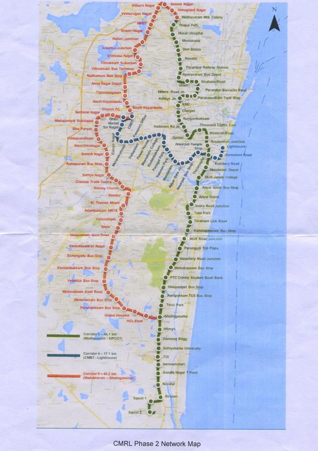Chennai Metro Rail phase 2 map released | Chennai News - Times of India