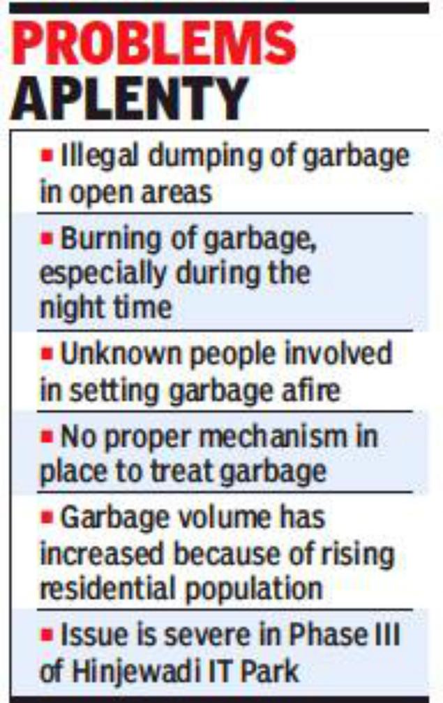 hinjewadi residents irked by dumping burning of garbage pune news
