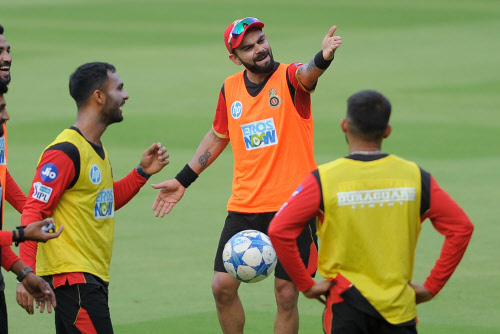 RCB team captain Virat Kohli during the practice session for the match ahead of RCB VS RR, on April 14 at M Chinnaswamy Stadium in Bangalore.Photo by Kaushik JN/ BCCL