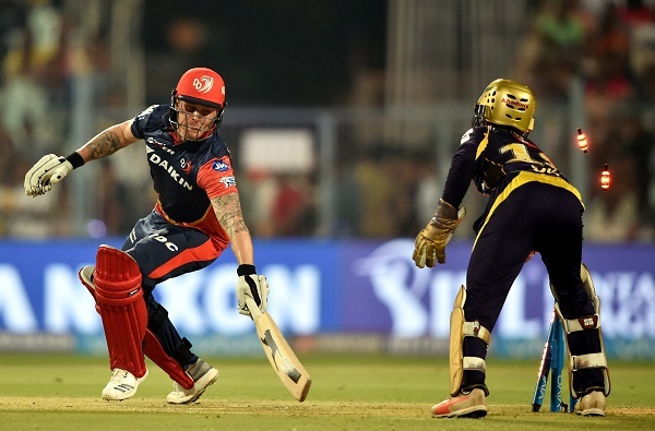 Jason Roy being stumped by Dinesh Karthik during the match at Eden Gardens. Photo: PTI