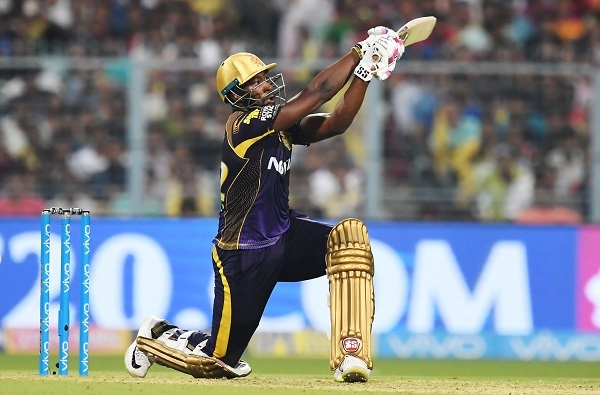 Kolkata Knight Riders cricketer Andre Russell plays a shot during the match against Delhi Daredevils at Eden Gardens. Photo: AFP