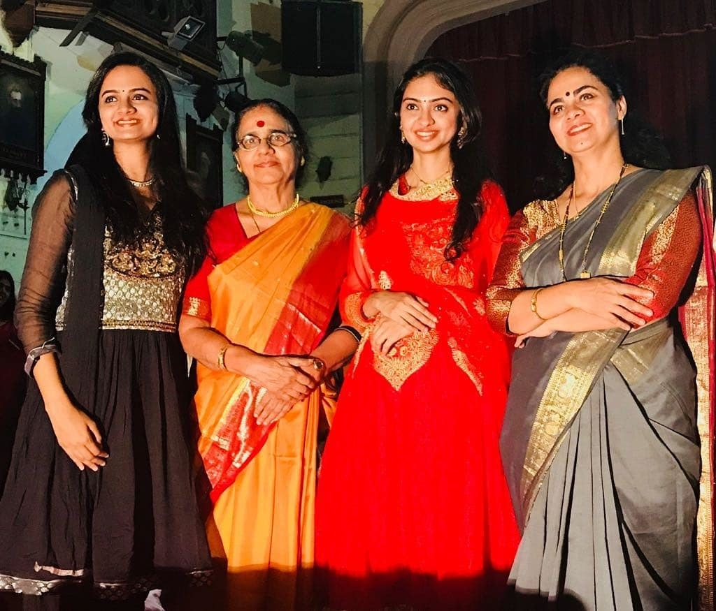 (L-R) Nandini, Padma Bhushan Dr N Rajam, Ragini and Dr Sangeeta Shankar