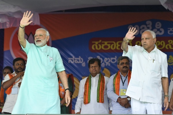PM Modi and BSY at an election rally