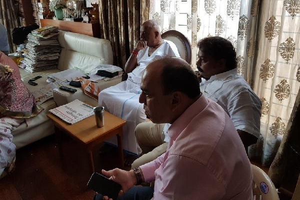 Former PM HD Deve Gowda following election results at home