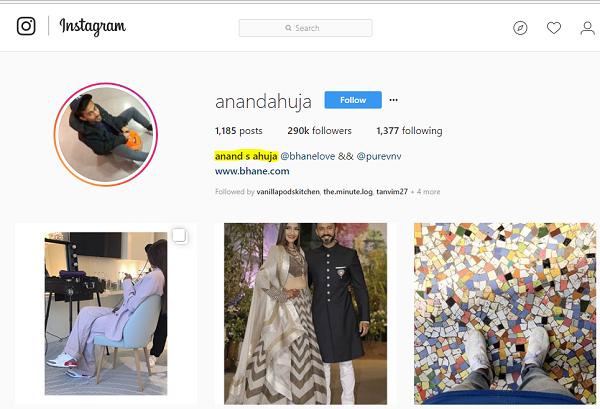 A screenshot from Anand S Ahuja's Instagram profile