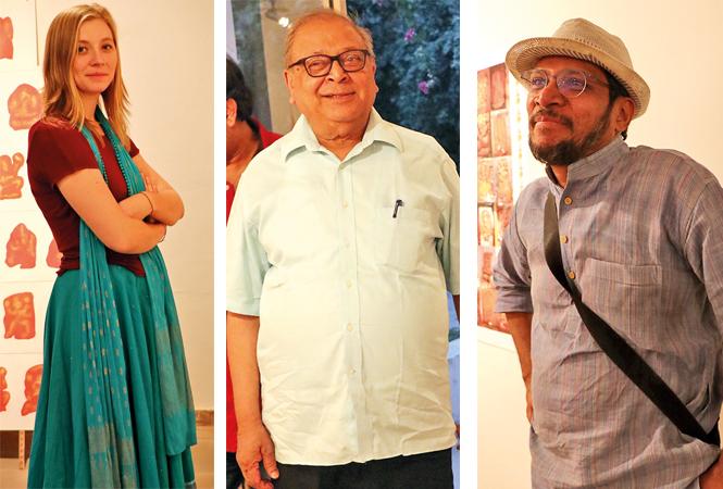 (L) Olivia Trombadore (C) Prof Rana P B Singh (R) Prof Suresh K Nair (BCCL/ Unmesh Pandey)