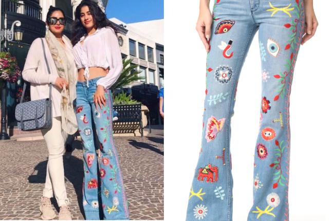Janhvi Kapoor in Alice Olivia jeans