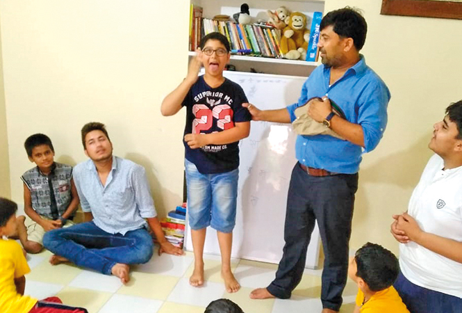 Kids enjoying at a theatre workshop being conducted by Sandeep Yadav (BCCL)